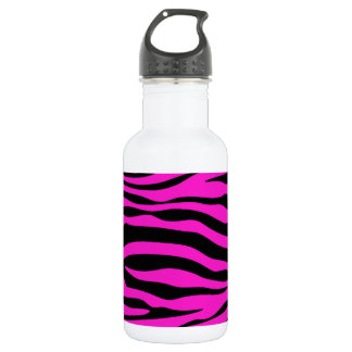 Hot Magenta Zebra Stripes Animal Print Stainless Steel Water Bottle