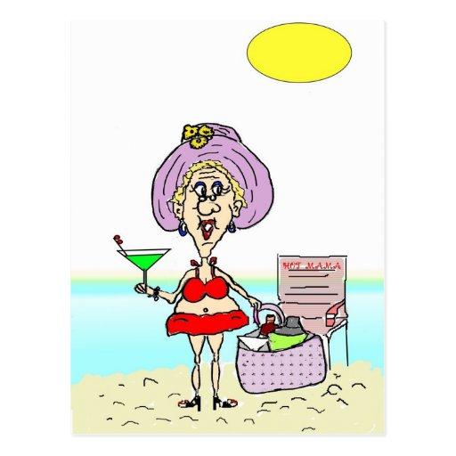 HOT MAMA MARTINI BEACH POSTCARD