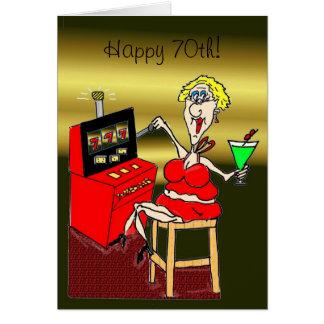 HOT MAMA SLOT MACHINE LUCKY 7 S 70th BIRTHDAY CARD