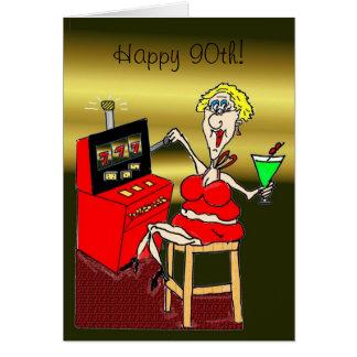 HOT MAMA SLOT MACHINE LUCKY 7 S 90th BIRTHDAY CARD