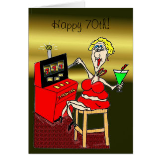 HOT MAMA SLOT MACHINE LUCKY 7'S 70th BIRTHDAY CARD