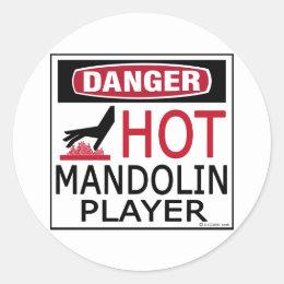 Hot Mandolin Player Classic Round Sticker