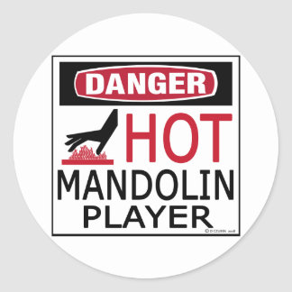 Hot Mandolin Player Classic Round Sticker