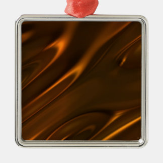 Hot Melted Liquid Chocolate Textured Square Metal Christmas Ornament