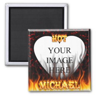 Hot Michael fire and flames red marble 2 Inch Square Magnet