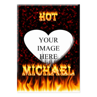 Hot Michael fire and flames red marble Large Business Cards (Pack Of 100)