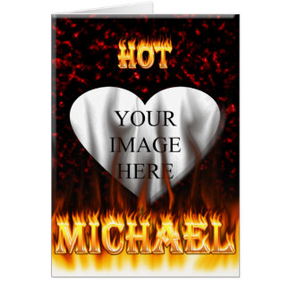Hot Michael fire and flames red marble Card