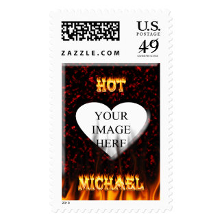 Hot Michael fire and flames red marble. Postage