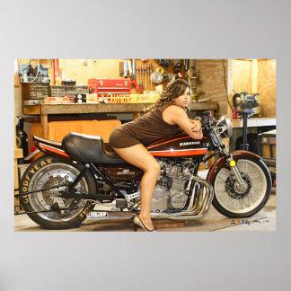 Hot Model + A Hot Classic Dragbike Poster
