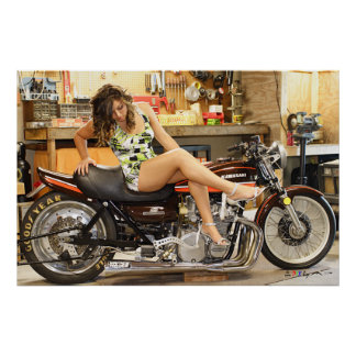 Hot Model On A Classic Z1 Dragbike Poster
