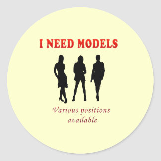 Hot models pics classic round sticker