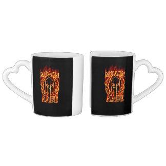 Hot Molon Labe Spartan Warrior Mask on Fire Coffee Mug Set