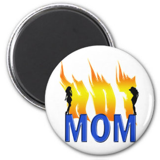 Hot Mom and Flames 2 Inch Round Magnet