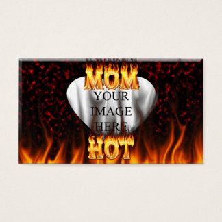 Hot mom fire and red marble heart. business card