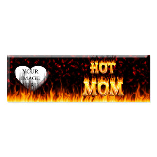Hot mom fire and red marble heart. Double-Sided mini business cards (Pack of 20)