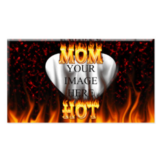 Hot mom fire and red marble heart. Double-Sided standard business cards (Pack of 100)