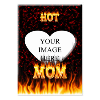 Hot mom fire and red marble heart. large business cards (Pack of 100)