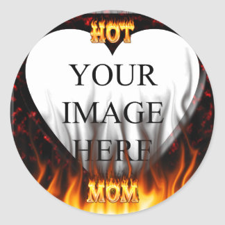 Hot mom fire and red marble heart. sticker
