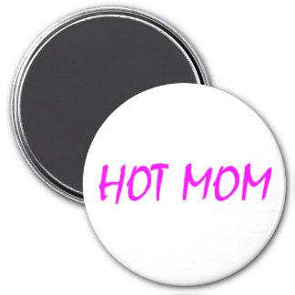 Hot Mom (Pink) 3 Inch Round Magnet