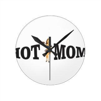 hot mom yeah round clock