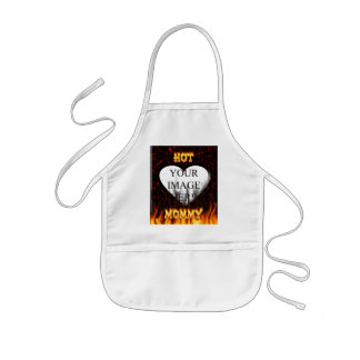 Hot Mommy fire and flames red marble Kids' Apron