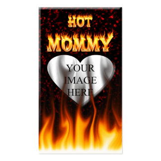 Hot Mommy fire and red marble heart Business Card