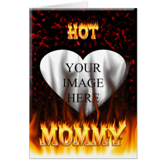 Hot Mommy fire and red marble heart Stationery Note Card