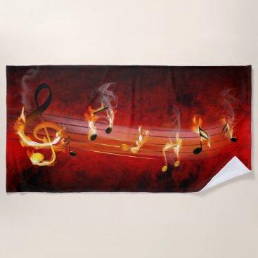 Beach Themed Hot Music Notes Beach Towel