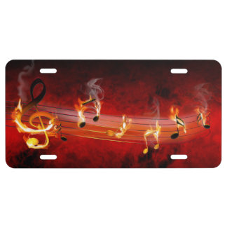 Hot Music Notes License Plate