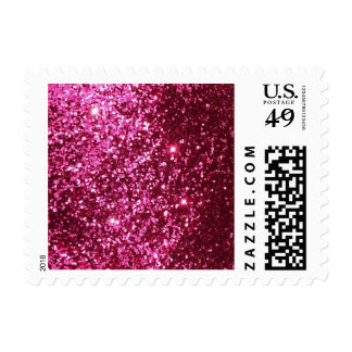 HOT NEON PINK SPARKLE GLITTER BACKGROUND PARTY FUN POSTAGE STAMP