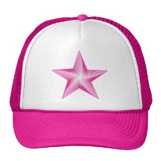 Hot Neon Pink Star Logo Trucker Hat