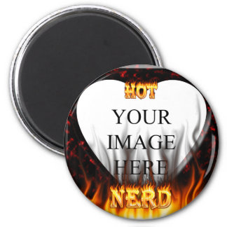 Hot Nerd fire and flames red marble 2 Inch Round Magnet