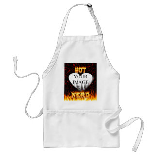 Hot Nerd fire and flames red marble Adult Apron