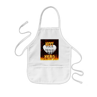 Hot Nerd fire and flames red marble Kids' Apron