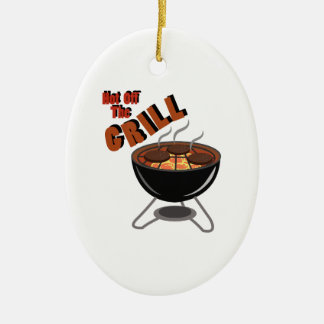 Hot Off Grill Double-Sided Oval Ceramic Christmas Ornament