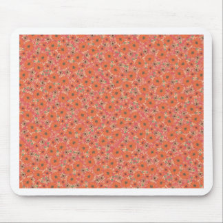 Hot Orange Floral Pattern Mousepad