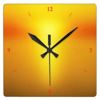 Hot Orange. Square Wall Clock