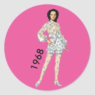 Hot Pants in Organdy of 1968 Classic Round Sticker