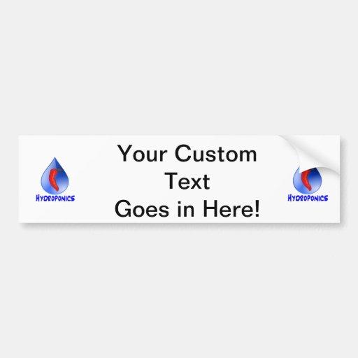 Hot pepper blu drop blue text hydroponicse car bumper sticker