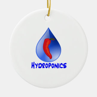 Hot pepper blu drop blue text hydroponicse Double-Sided ceramic round christmas ornament
