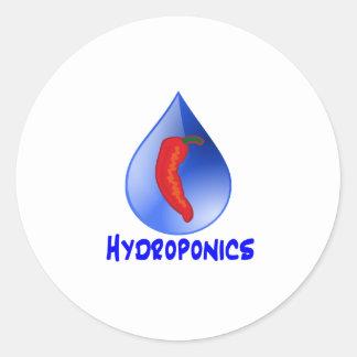 Hot pepper blu drop blue text hydroponicse round stickers