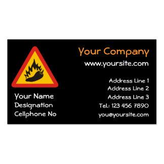 Hot pepper danger sign business card