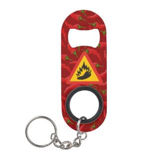Hot pepper danger sign keychain bottle opener