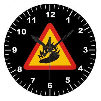 Hot pepper danger sign large clock
