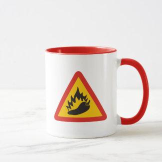 Hot pepper danger sign mug