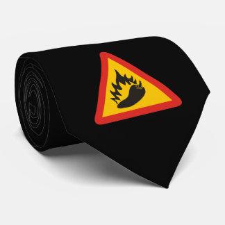 Hot pepper danger sign neck tie
