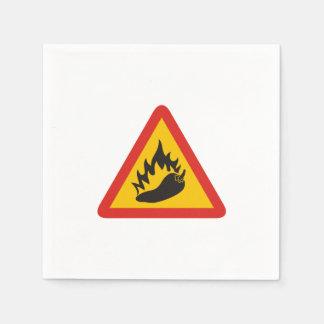 Hot pepper danger sign paper napkin