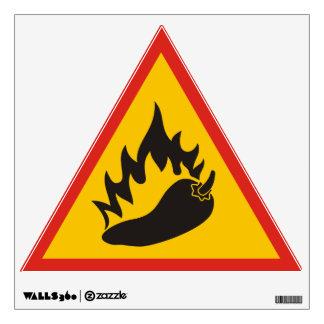 Hot pepper danger sign wall sticker