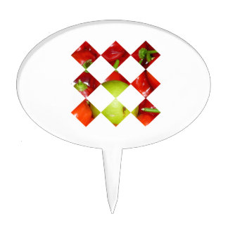 Hot pepper lime diamond tile graphic cake toppers