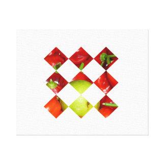 Hot pepper lime diamond tile graphic canvas print